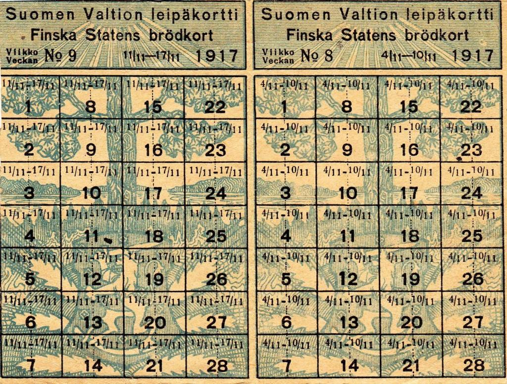 Suomen Valtion Leipäkortti 1917 - Helena Övermarkin kuva
